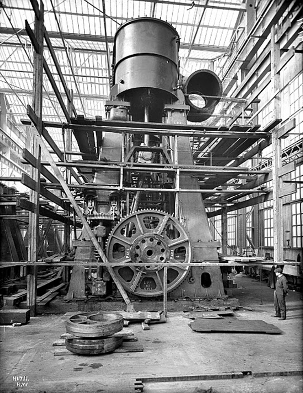 One of the 2 four-cylinder, triple-expansion, inverted reciprocating steam engines