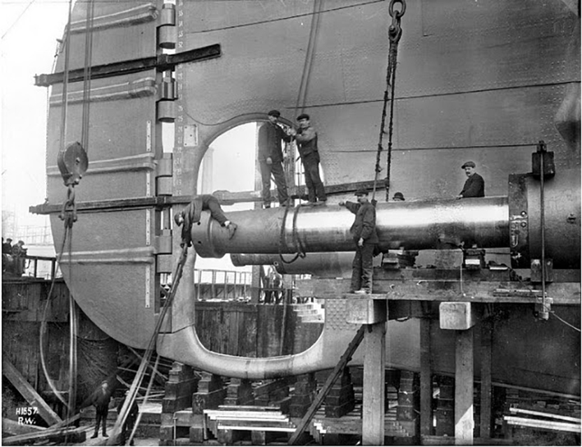 Installation of Propeller shafts Titanic