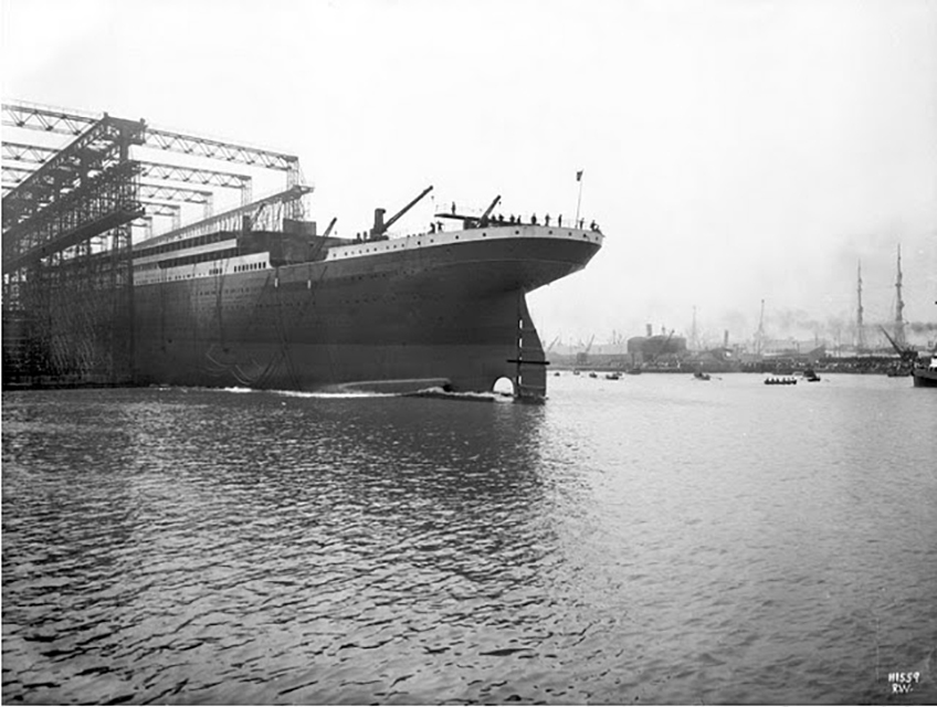 Titanic during launch on May 31 1911