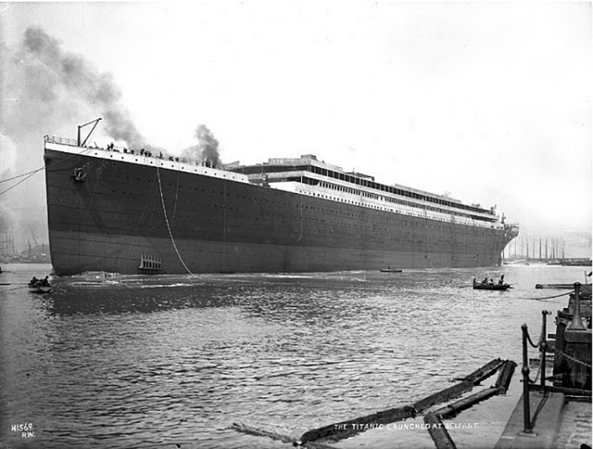 Titanic just after launch on May 31 1911