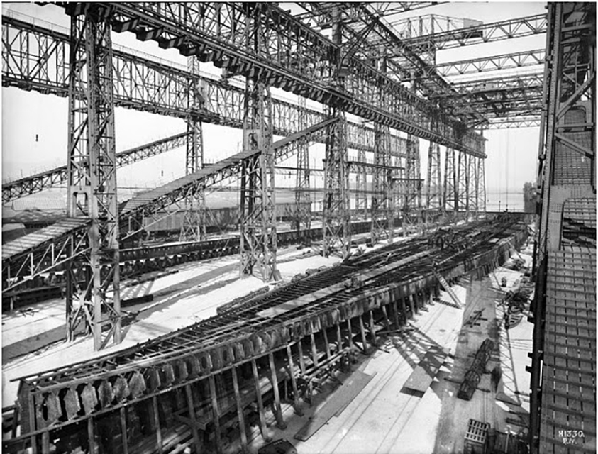 Construction of Titanic's Bottom section