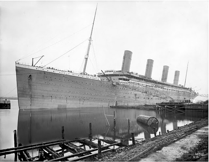 Titanic being outfitted