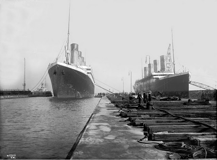 Titanic and Olympic at the Thomson Graving dock