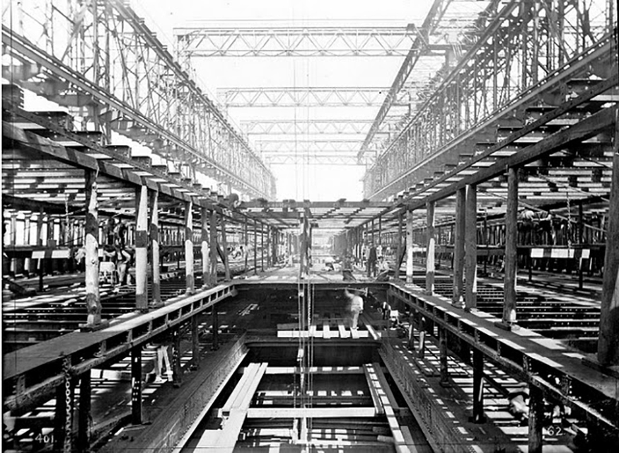 Plating of the interior of the Titanic