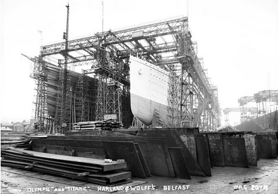 Exterior plating done on Olympic (Right) and Titanic
