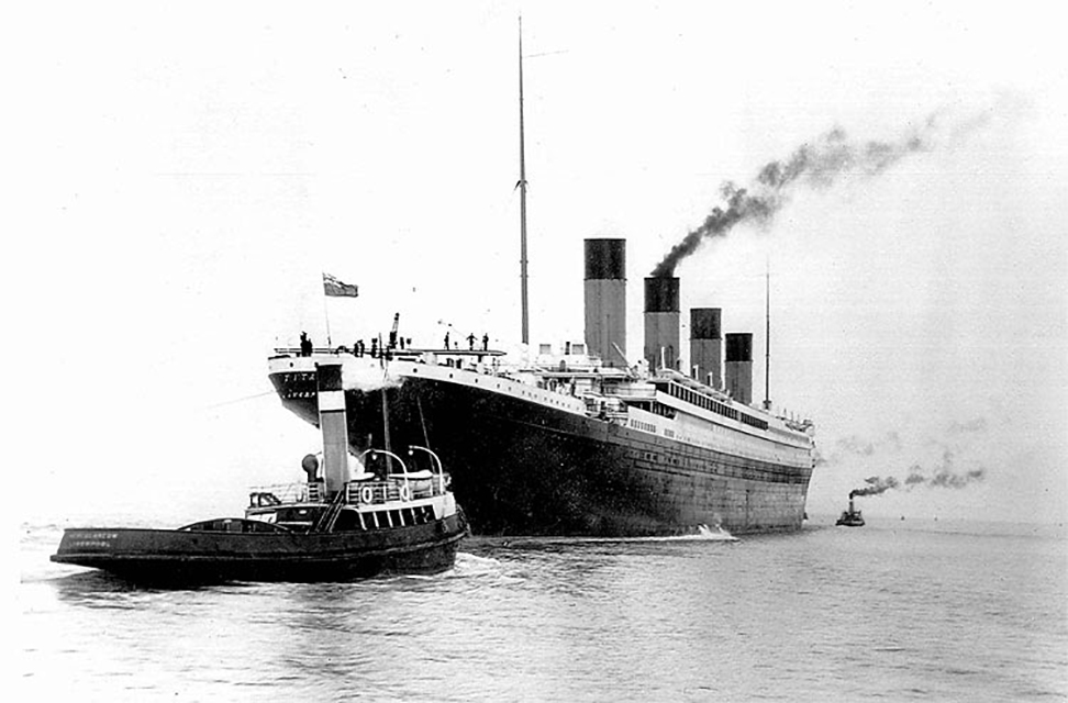 Titanic leaving Belfast for her sea trials