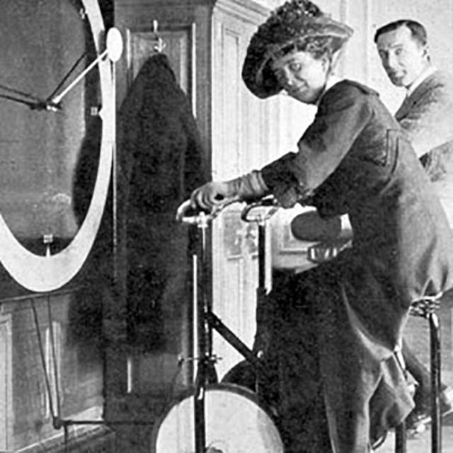 Riding the exercise bike on Titanic