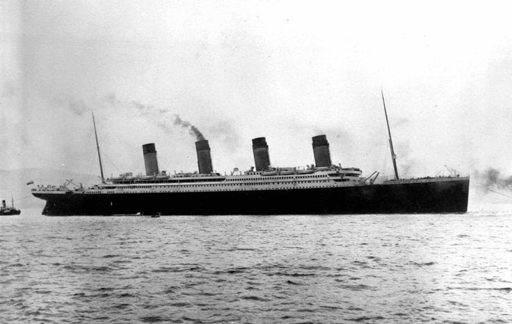 Titanic dropping anchor at Cherbourg