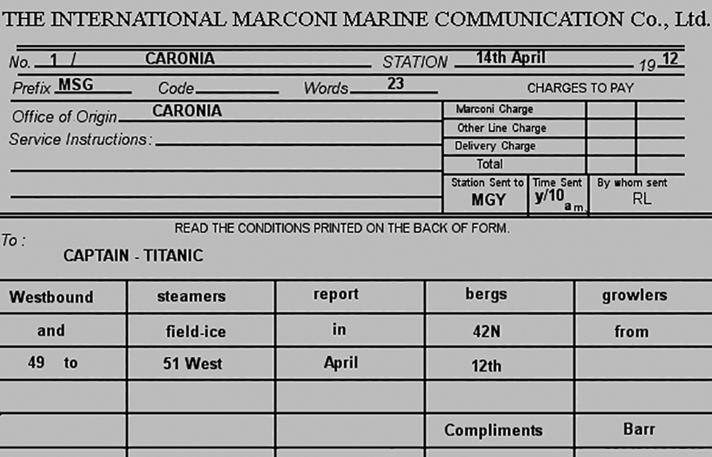 Ice warning from the RMS Caronia