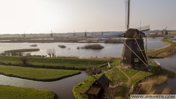 Drone Photograph windmolens Kinderdijk